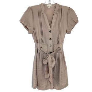 Mine Anthropologie beige button down tunic dress